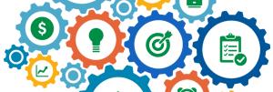 Engrenagens simbolizando os requisitos de recursos da ISO 17025:2017.