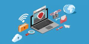 Imagem de um computador com um escudo de segurança na tela, representando do controle de documentos e os três pilares da segurança da informação.