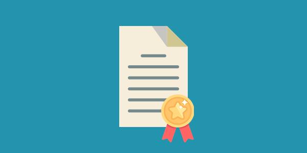 Imagem de um documento com uma medalha de reconhecimento, simbolizando que conceitualmente não há diferença entre certificação e acreditação, ambas são formas de buscar Qualidade.