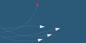 horizontalmente e um avião vermelho subindo na vertical, simbolizando a importância de quebrar a resistência a mudanças.
