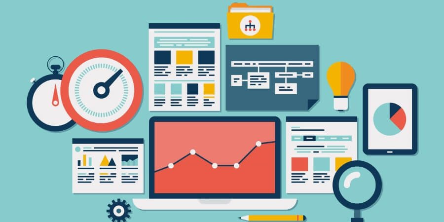 Imagem de várias dashboards e gráficos demonstrando resultados e simbolizando a necessidade de criar indicadores.