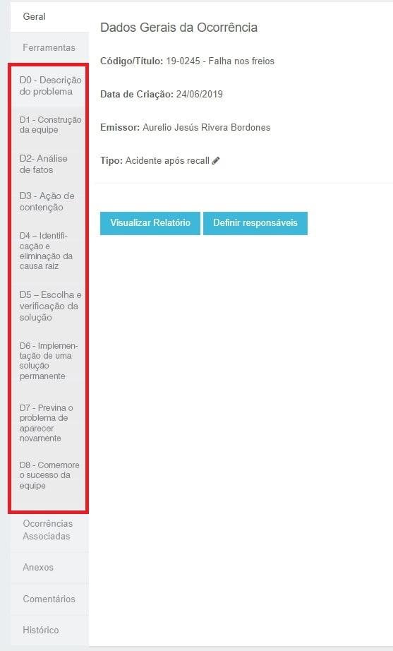 Imagem da tela do ForLogic Tracker mostrando como aplicar o 8D (8 Disciplinas) de maneira sistêmica.