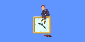 Ilustração de um homem sentado em um relógio e com cara de desânimo, representando a procrastinação das rotinas da qualidade.