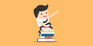 Imagem com um fundo da cor laranja e um bonequinho em cima de 9 livros apontando para a frente. Essa imagem simboliza o post: Cumprir ou não cumprir os procedimentos.