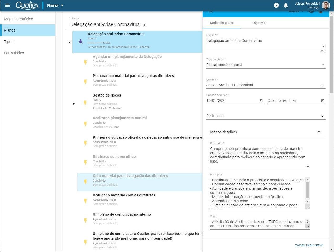 Captura de tela do Planner: Software para gestão estratégica