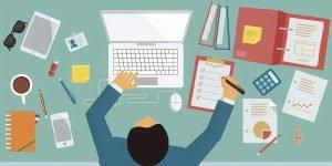Imagem de um homem simbolizado em desenho, o homem está fazendo algumas anotações. Essa imagem simboliza o artigo sobre redução de custos.