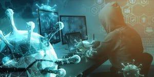 imagem de um homem mexendo em um computador com algumas imagens de segurança e na imagem existem vários objetos que simbolizam o covid-19. Essa imagem simboliza o artigo sobre segurança da informação em tempo de pandemia.