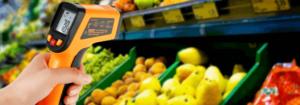 imagem de um termômetro metrológico apontado para vários alimentos. Essa imagem simboliza o artigo sobre A importância da metrologia na análise de alimentos