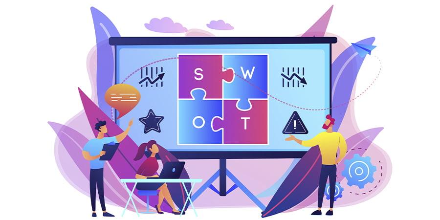 Imagem ilustrando a ferramenta de análise SWOT.